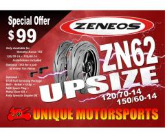 Aerox upsized tyres $99 per pair