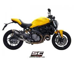 SC Project Twin GP Muffler (Carbon with SS link pipe) Ducati Monster 821